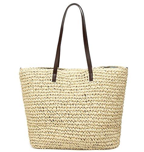 Obosoyo Women's Classic Straw Handbag Summer Beach Sea Shoulder Bag Large Tote (Beige1) by Obosoyo