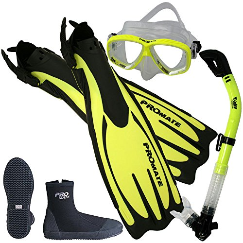Promate Scuba Dive Fins Boots Dry Snorkel Mask Gear Set, Yellow, Mens 8/Womens 9 (Fins Snorkel Boots)
