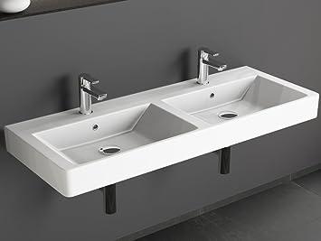 Aqua Bagno Design Keramik Doppel Waschbecken 120 cm ... | {Doppelwaschbecken keramik 3}
