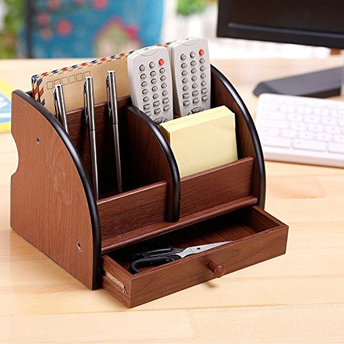 Nrpfell 5-Compartment Luxury Brown Wood Office Desktop Organizer/Letter Sorter with Drawer by Nrpfell (Image #3)