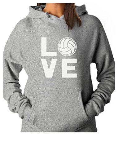 (Love Volleyball for Volleyball Fans Women Hoodie X-Large Gray)