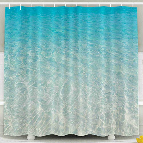 ROOLAYS Shower Curtain, Christmas Tropical Beach Water Background Waterproof Decorative 72X72 Inch Bathroom Fabric Shower Curtains,Gold Green