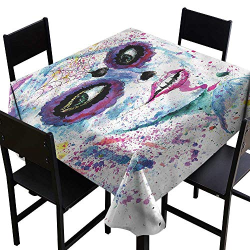 haommhome Stain-Resistant Tablecloth Girls Halloween Lady Make Up Easy to Clean W70 xL70 Washable Polyester - Great for Buffet Table, Parties, Holiday Dinner, Wedding & More for $<!--$40.50-->