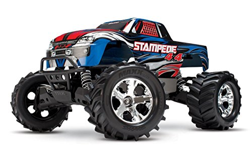 Stampede Monster Truck - Traxxas Stampede 4X4: 1/10 Scale 4wd Monster Truck with TQ 2.4GHz Radio, Blue