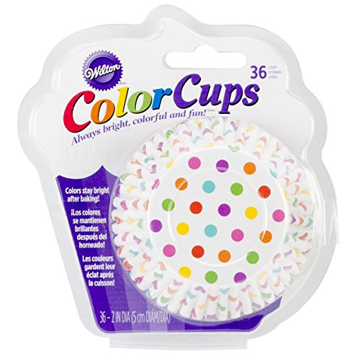 Wilton 415-0627 36-Pack Color Baking Cup, Standard, Dots Rainbow (Cupcake No Liners Fade)