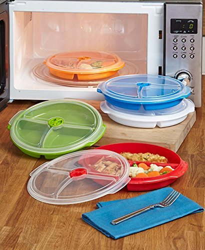 Set of 5 Divided Food Storage Plates (Covered Plate)
