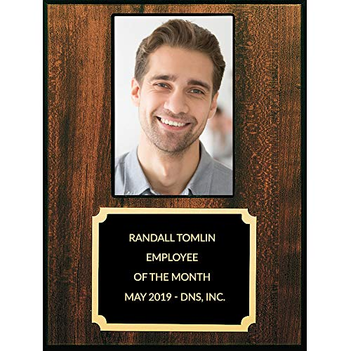 - Employee of The Month Plaque with Photo Insert, Customize Engraving - 3.5 x 5 Inch Picture, 8 x 10 Inch Frame