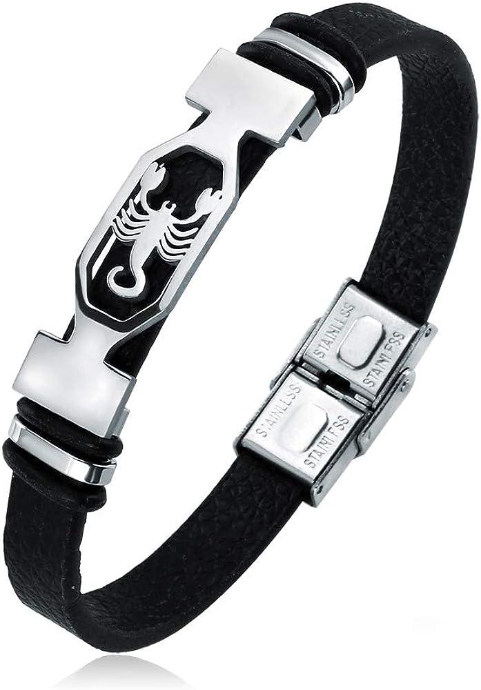 Liujun Mens Bracelets,Fashion 12 Zodiac Signs Constellations Stainless Steel Personality Vintage Punk Black Leather Bracelets for Men Women