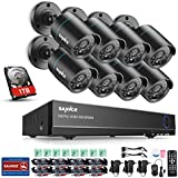 SANNCE 8 Channel HDMI CCTV 1080P Lite Security Surveillance DVR System with 8 x 1500TVL 720p High Resolution Weatherproof Security Cameras and 1TB Hard Drive Included,Email Alarm, Phone Access