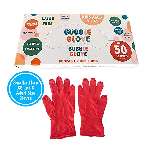 isposable Nitrile Gloves for Kids (Latex Free, Powder Free, odorless) - Prevent Skin Allergy or Irritation for Multipurpose Use (Red, 50) ()