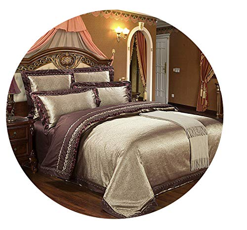 retro store Silver Gold Luxury Silk Satin Jacquard Duvet Cover Bedding Set Queen King Size Embroidery Bed Set Bed Sheet/Fitted Sheet Set,Color 8,Queen 4Pcs,Bed Sheet Style