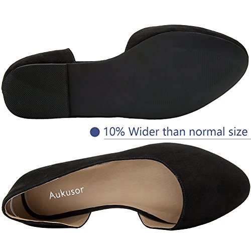 Aukusor Women's Wide Width Ballet Flat - Comfortable Slip On Closed Toe Casual Shoes.(Black 180401, 10.5WW) by Aukusor (Image #2)