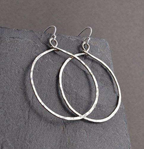 [Handmade Hammered Large Sterling Hoop Earrings] (Handmade Hammered Ring)