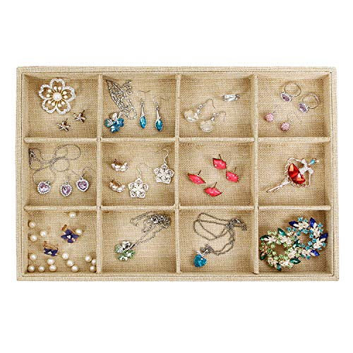 Valdler Sackcloth Stackable 12 Grid Jewelry Tray Showcase Display -