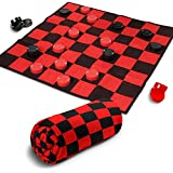 """Giant Checkers Rug Set by Gamie   34.5"""" x 34.5"""" Jumbo Checker Board Floor Mat Game with Huge Pieces   Great Gift Idea for Boys and Girls/ Fun Birthday Party Activity   Play Room Rug (Red and Black)"""