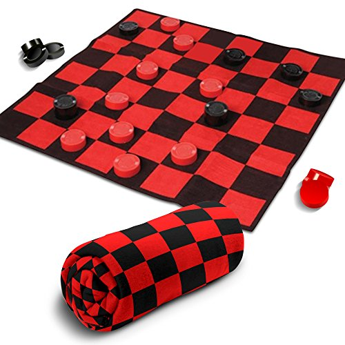 "Giant Checkers Rug Set by Gamie | 34.5"" x 34.5"" Jumbo Checker Board Floor Mat Game with Huge Pieces 