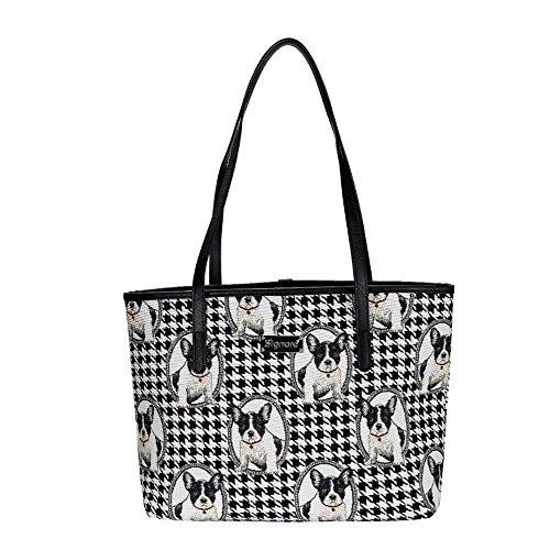 Sac fourre-tout Signare pour sac à bandoulière en tissu de femme d'université style de tapisserie bouledogue français