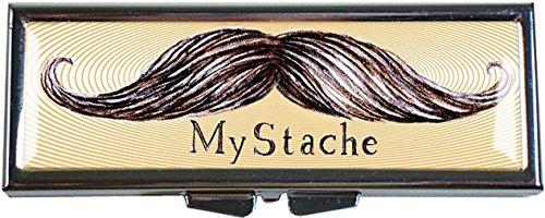 Mirrored Compact Case - MyStache Mustache Pill Box - Compact 1 Compartment Medicine Case