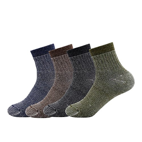 Men's Merino Wool Blend Socks- Caudblor Thermal Steel Toe Winter Ankle Socks for Outdoor Skiing Hiking, 4 Pack, Mixed Color ()