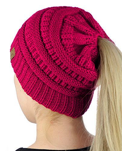 C.C BeanieTail Soft Stretch Cable Knit Messy High Bun Ponytail Beanie Hat, Hot Pink ()