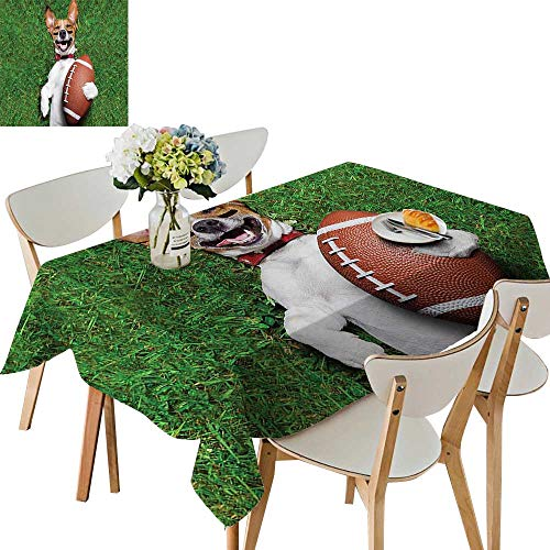 (UHOO2018 Square/Rectangle Tablecloth Waterproof Polyester Soccer Dog Holding Rugby and Laughing Out Loud Funny Comic Joke Wedding Birthday Party,54 x120inch.)