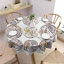 DILITECK Clock Terrace Round Tablecloth Repair of Watches Theme Design Technical Theme Clockwork Retro Theme Horizontal Fabric Tablecloth Diameter 63 Silver and Gold