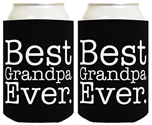 Funny Beer Coolie Best Grandpa Ever 2 Pack Can Coolies Black