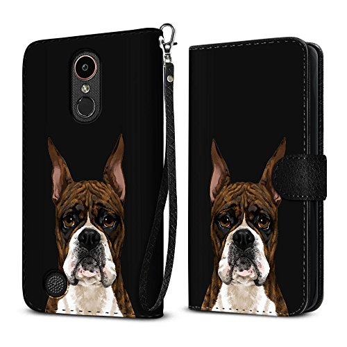 FINCIBO Case Compatible with LG K20 Plus/Harmony VS501/ LV5 K10 2017 M250 M257, Protective Flip Canvas Wallet Pouch Case Card Holder TPU Cover for LG K20 Plus - Cute Brindle Pattern Boxer Dog ()