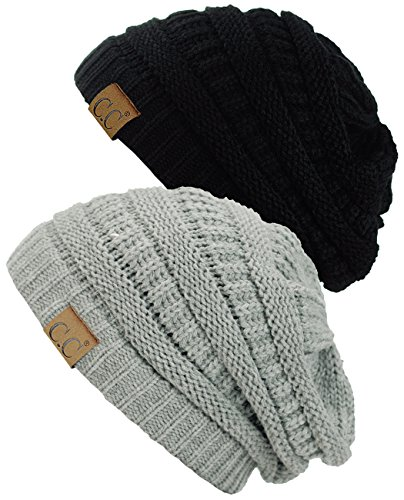 C.C Trendy Warm Chunky Soft Stretch Cable Knit Beanie Skully, 2 Pack Black/Natural - Hat Cable Knit Chunky