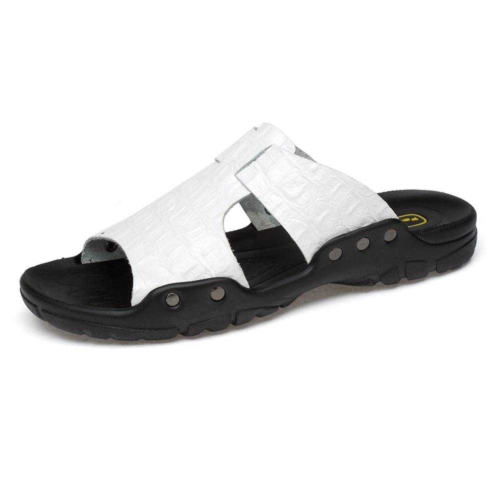 Pantuflas de Hombre Pantuflas de Playa de Cuero de Vaca Genuino Sandalias Casuales Zapatos Antideslizantes con Textura de cocodrilo,para los Hombres 49 EU|White