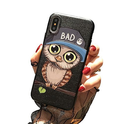 iPhone Cute Fashion Lovers Couple Matching Case The Owl Style Valentine Day Love Boyfriend Girlfriend, Slim Soft TPU Hard PC Perfect Fit Cover Case (iPhone X, Male Style) -