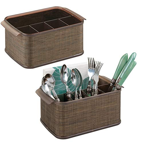 mDesign Plastic Cutlery Storage Organizer Caddy Tote Bin with Handles for Kitchen Cabinet or Pantry - Holds Forks, Knives, Spoons, Napkins - Indoor or Outdoor Use - Woven Accent, 2 Pack - Bronze/Sand