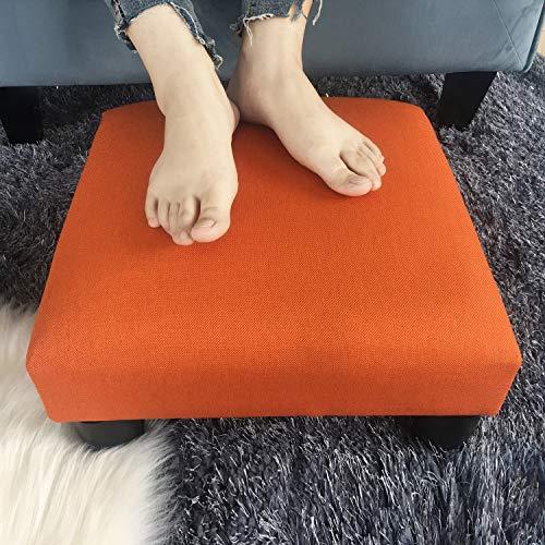 Adeco Small Ottoman - Footstool/Footrest - Geometric Art - Cuboid & Cylinder, 17.5x17.5x9 (Dynamic Orange, Soft Fabric)