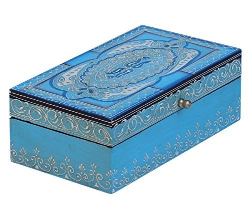 Etroves Turquoise Blue Wooden Box with Decorative Cone Painting Oriental Antique Look Jewelry/Keepsake/Trinket Storage Collectible -
