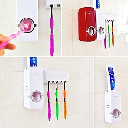 Generic rojo: 1 pasta de dientes automático dispensador Familia Cepillo de dientes titular baño cocina