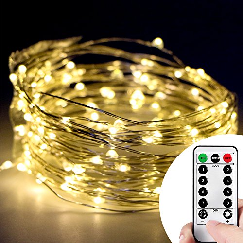 kany 100led 33ft copper wire starry string led lights battery powered with remote control 8 modes string lights for indoor outdoor christmas