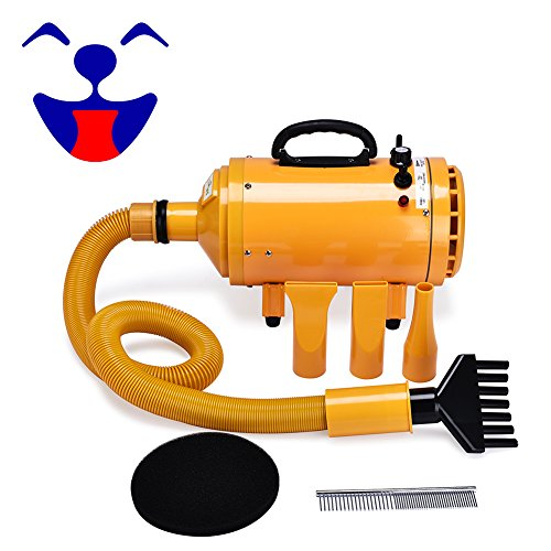 4HP Stepless Adjustable Speed and 2 Differerent Heat Pet Grooming Hair Dryer w/4 Different Nozzles