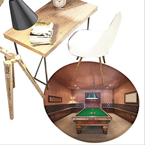 Modern Round Area Carpet,Entertainment Room in Mansion Pool Table Billiard Lifestyle Photo Print Design Print,Living Room Bedroom StudyNon-Slip Round Carpet,2-Feet Diameter,Cinnamon Brown Green
