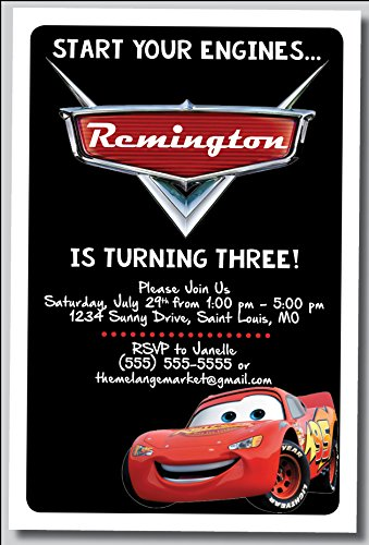 (Custom Birthday Party Invitation - Lighting McQueen, Cars, Personalized (20)