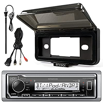 "Kenwood KMR-M318BT In-Dash Marine Boat Audio Bluetooth USB Receiver With Waterproof Protective Cover Bundle Combo With Enrock USB/AUX To RCA Interface Mount Cable + 45"" Radio Antenna Mast"