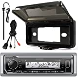 Kenwood In-Dash Marine Boat Audio Bluetooth USB Receiver with Black Waterproof Protective Cover Bundle Combo with Enrock USB/AUX To RCA Interface Mount Cable, 45 Radio Antenna Mast