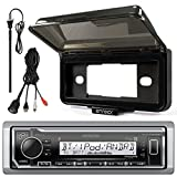 Kenwood In-Dash Marine Boat Audio Bluetooth USB Receiver with Black Waterproof Protective Cover Bundle Combo with Enrock USB/AUX To RCA Interface Mount Cable, 45' Radio Antenna Mast
