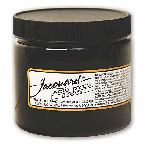 Jacquard Acid Dye for Wool, Silk and Other Protein Fibers, 8 Ounce Jar, Concentrated Powder, Aztec Gold 633
