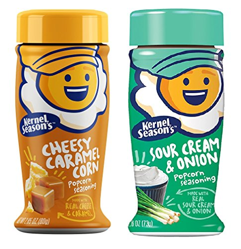 Kernel Season's NEW FLAVORS Sour Cream & Onion and Cheesy Caramel Corn Gourmet Popcorn Seasonings (2 Pack)