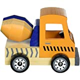 Wooden Wheels Tough Jobs Pack: Natural Beech Wood Tractor, Pickup Truck, and Cement Mixer