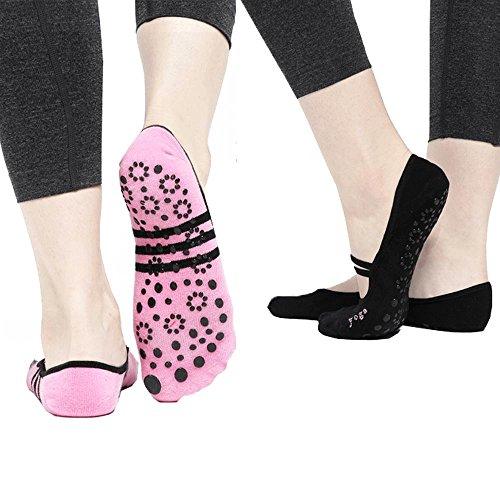 2PCS Femmes Chaussettes de yoga Pilates Ballet de danse antidérapante Chaussettes de cinq pieds Chaussettes antidérapantes de fitness Coton