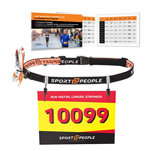Running Number - Sport2People Ultra Running Race Belt for Runners - Triathlon Number Belt with Gel Loops - Reflective Running Gear for Marathon Races