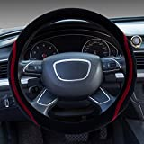 Dee-Type Red Universal Plush Steering Wheel Cover 38cm (15 Inch) Other Color Inside