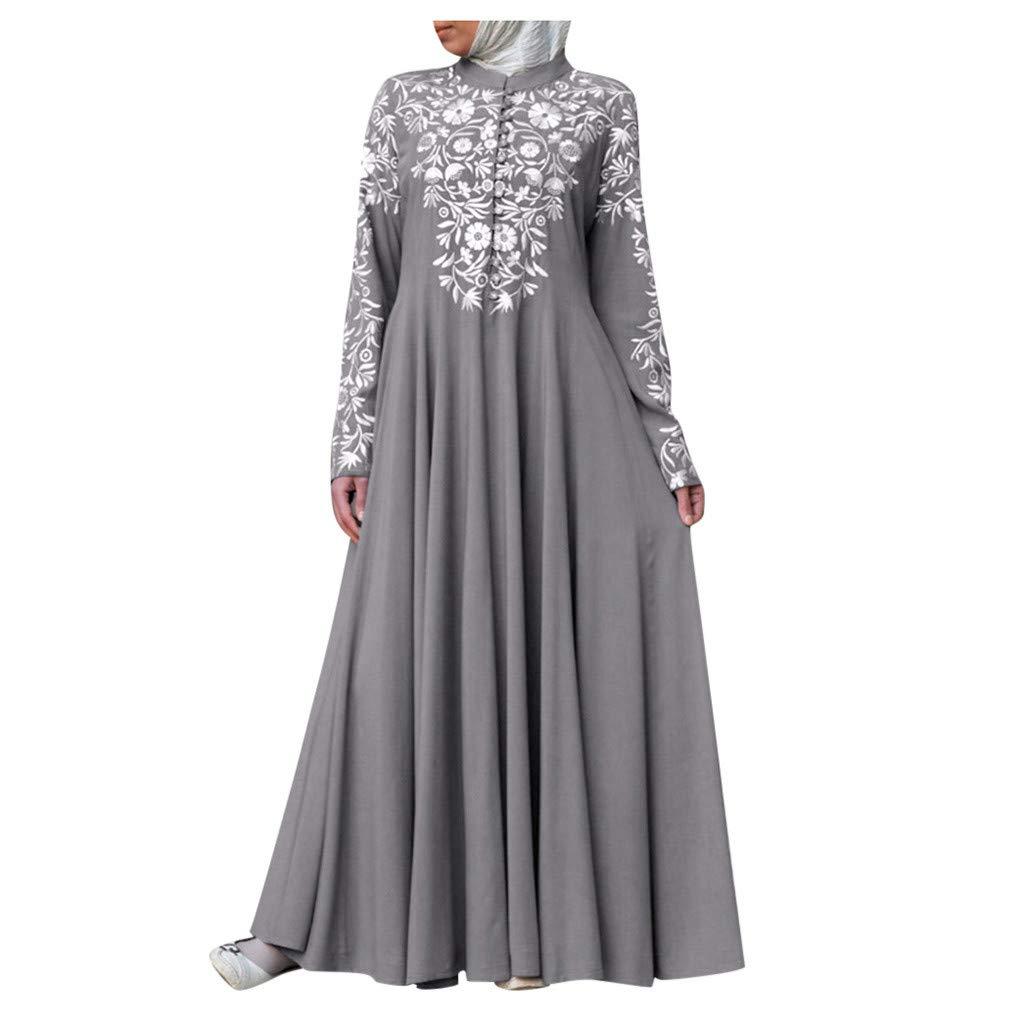 FEDULK Womens Muslim Costume Dress Kaftan Arab Islamic Lace Stitching Ethnic Maxi Long Dress(Gray, XXXX-Large) by FEDULK