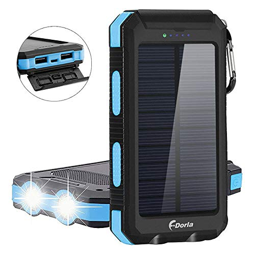 F.DORLA Solar Charger 20000mAh Power Bank, Portable Charger Solar Phone Charger Dual USB Port 2 Flashlight External Battery Pack Powered Charging Emergency Camping iPad iPhone Smartphone (Blue) from F.DORLA